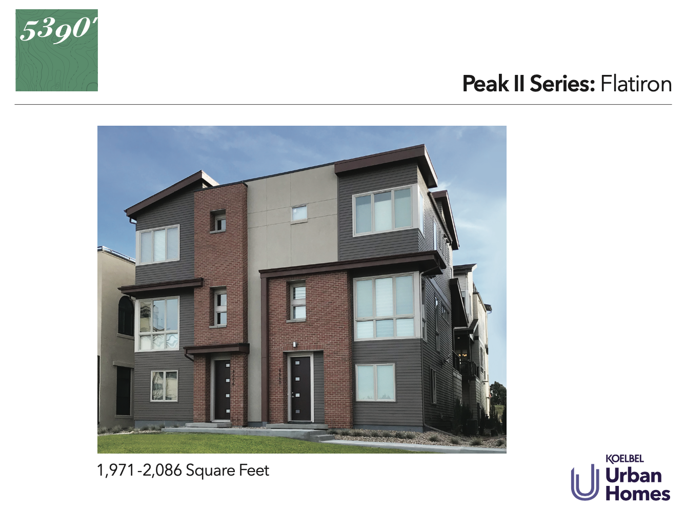 5390' Community by Koelbel in the Berkeley Tennyson Neighborhood Denver New Construction Homes For Sale Peak II Flatiron Elevation