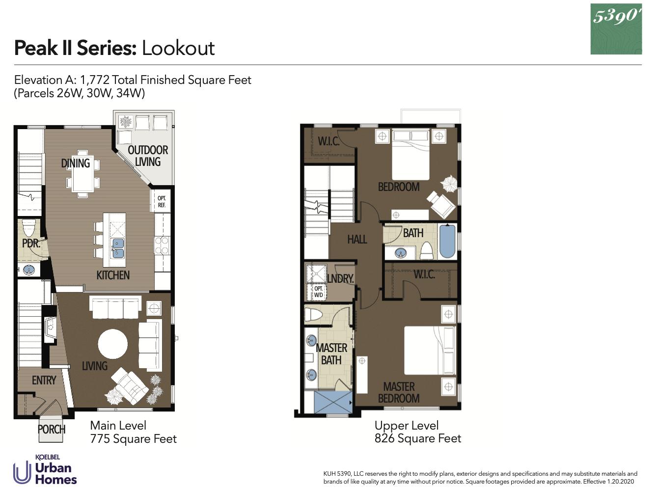 5390' Community by Koelbel in the Berkeley Tennyson Neighborhood Denver New Construction Homes For Sale Peak II Lookout Floorplan2
