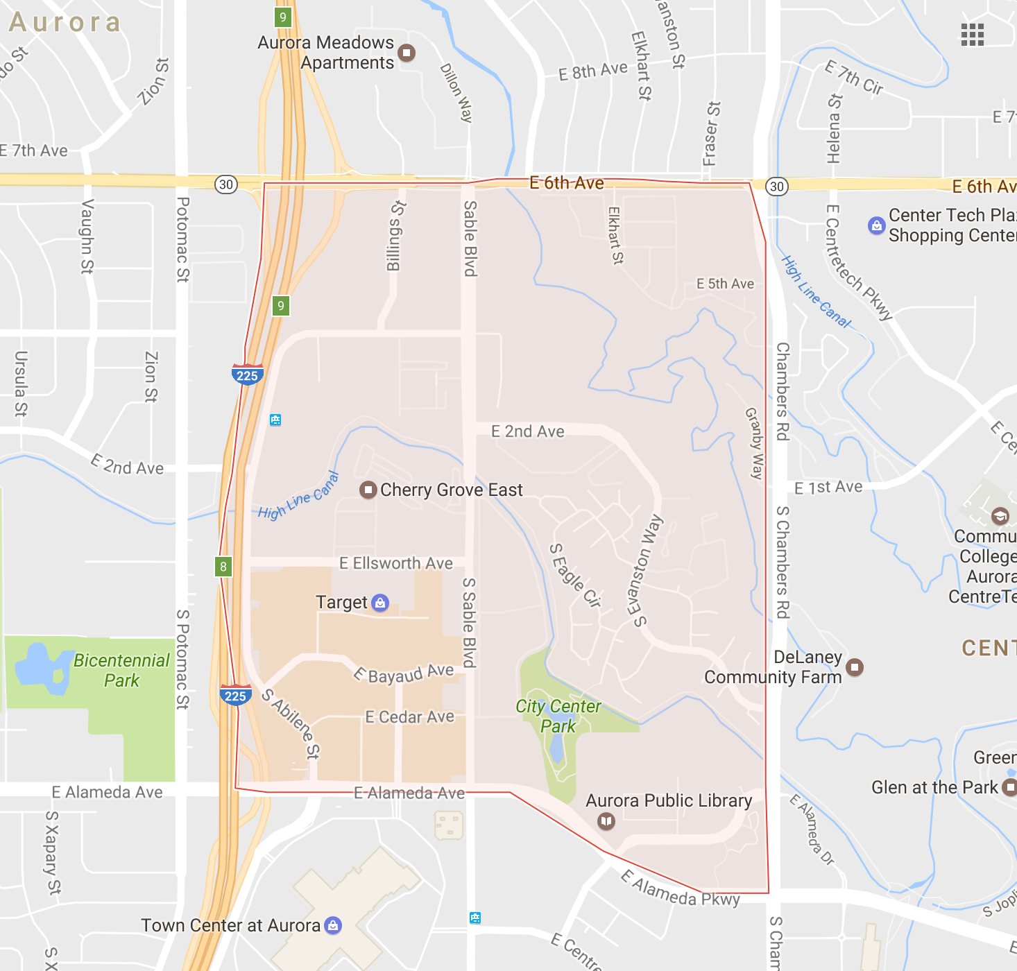 map search of all City Center North Aurora homes for sale