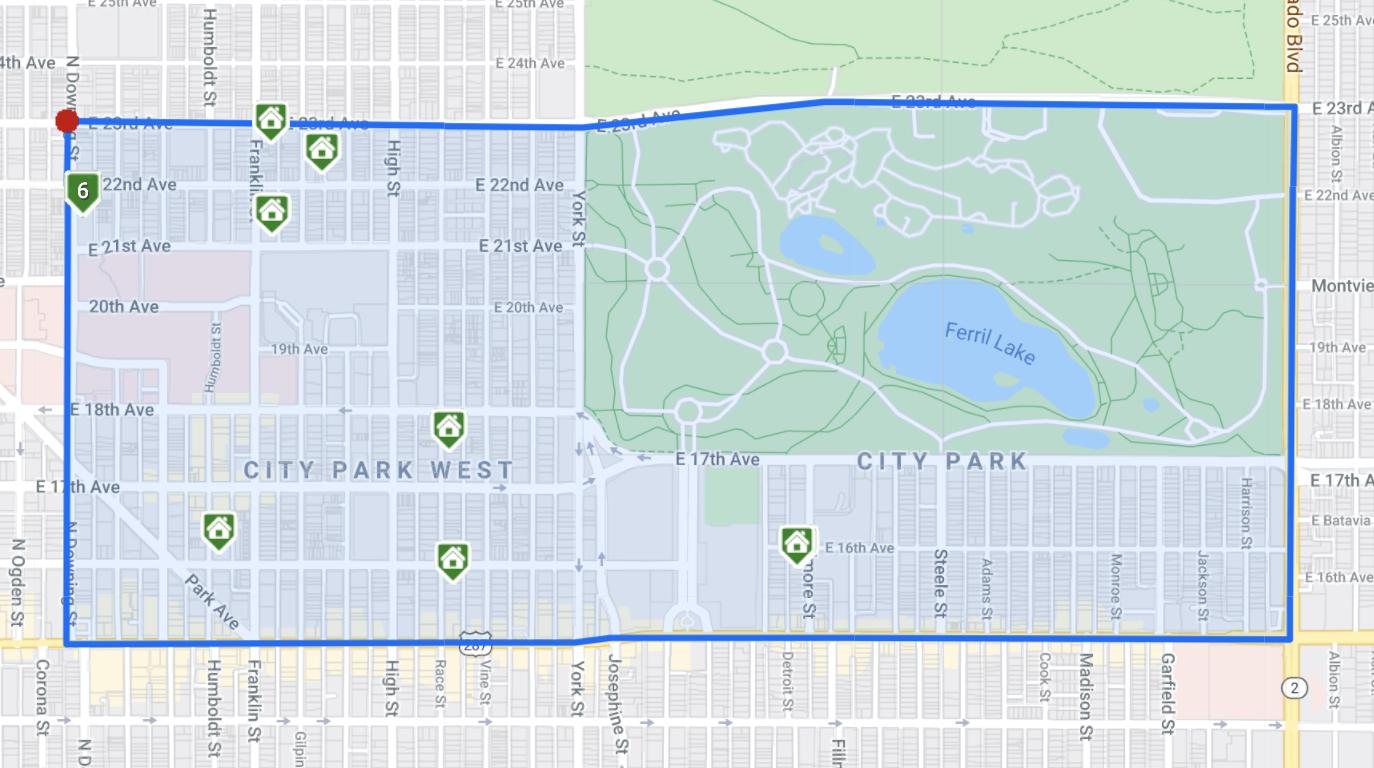City Park Neighborhood Denver Homes For Sale Map