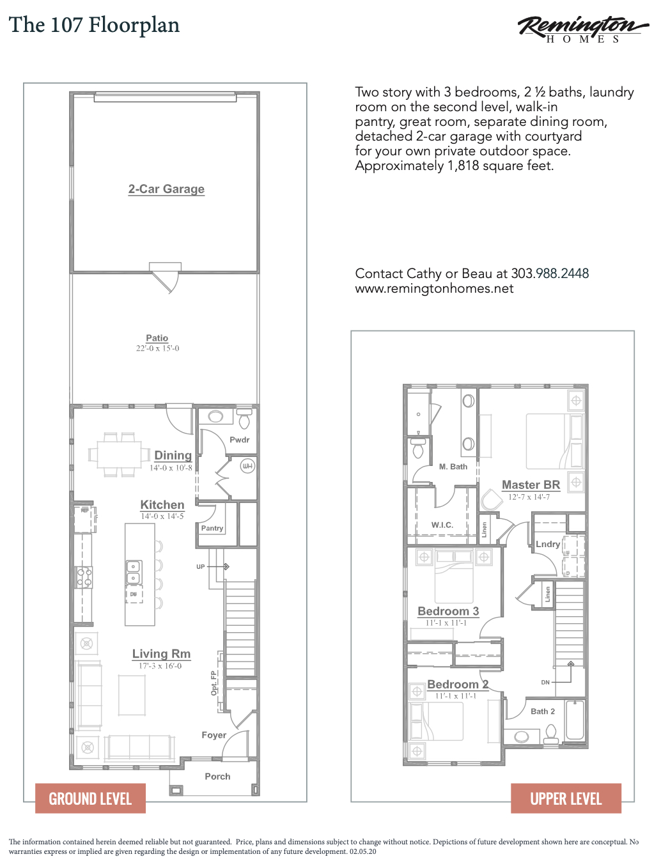 Hance Station New Construction, Remington Homes, Wheat Ridge Floorplan 107