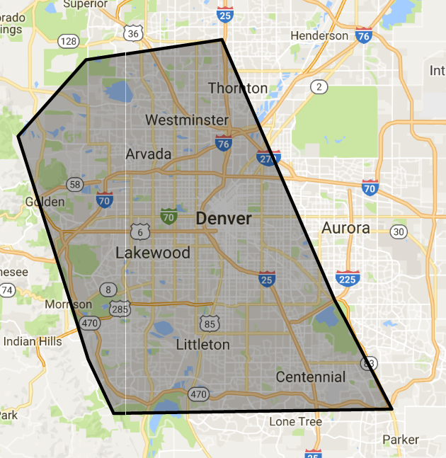 Metro Denver Townhomes Under $260,000 Search Map