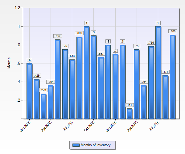 How many months of home inventory are present in the Ruby Hill Neighborhood?