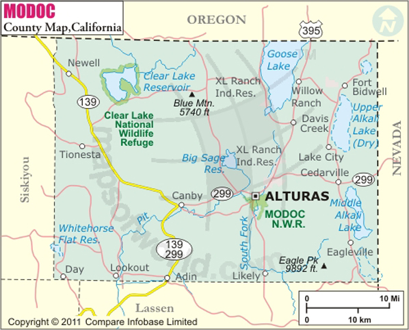 Modoc County Map