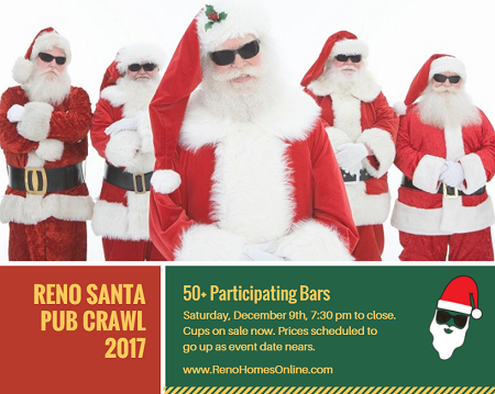 Proceeds from drink sales at the Reno Santa Pub Crawl 2017 benefit local Reno schools. Get your tickets early for the best deals.