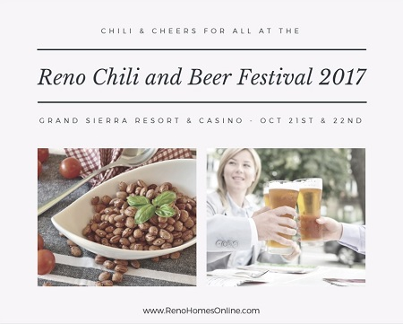 Sample local craft beers along with some fantastic chili recipes at the Reno Chili and Beer Festival 2017 on October 21st and 22nd.