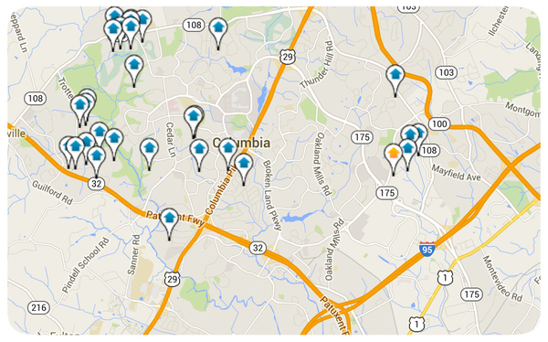 Columbia Homes for Sale Map Search