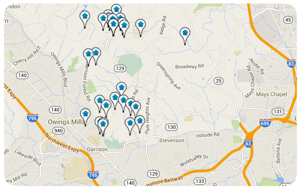 Owings Mills Homes for Sale Map Search
