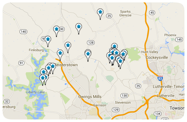 Reistertown Homes for Sale Map Search