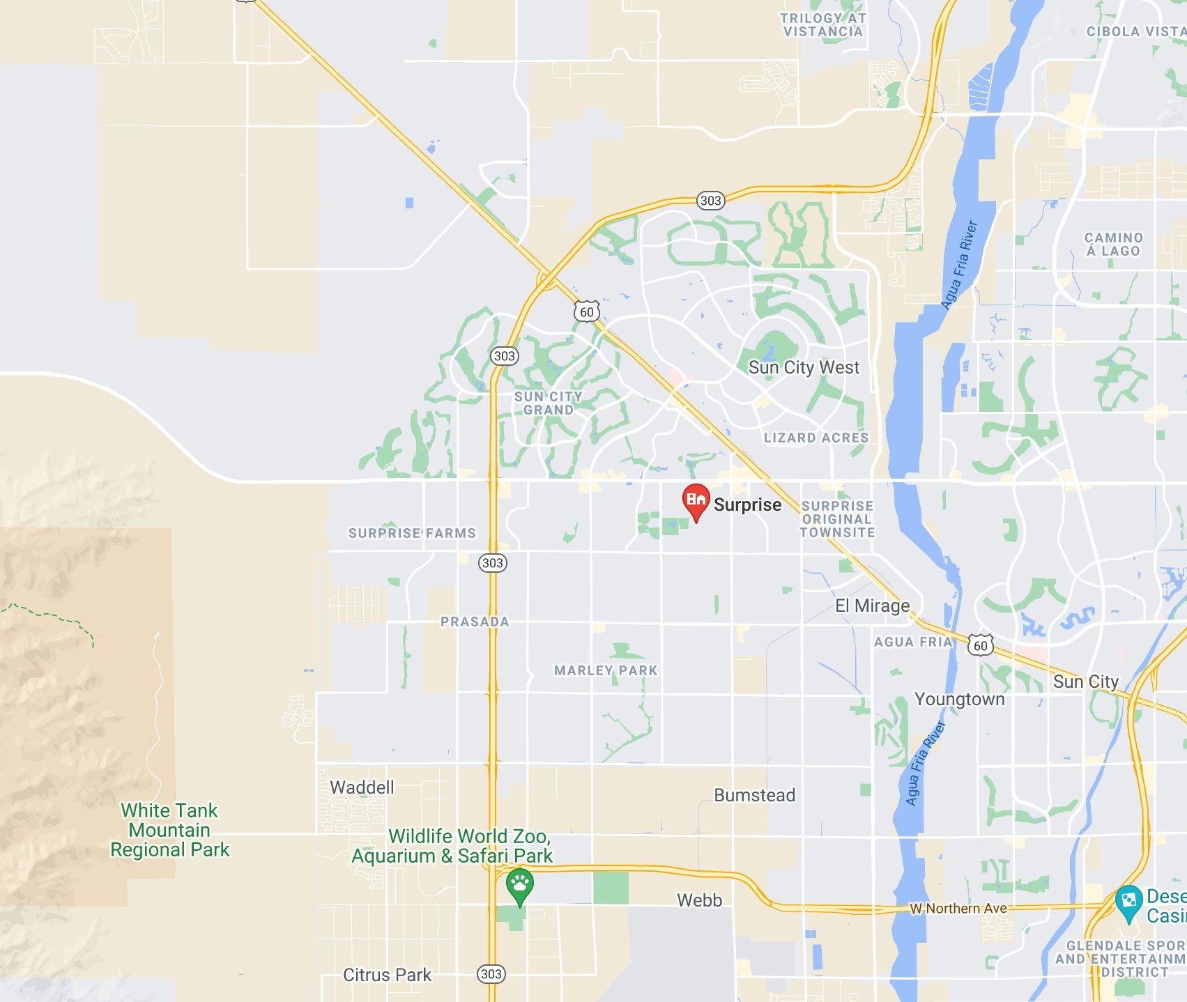 Surprise Arizona map