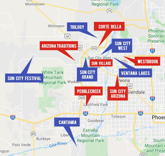 Retirement Community Map. Explore Arizona Real Estate