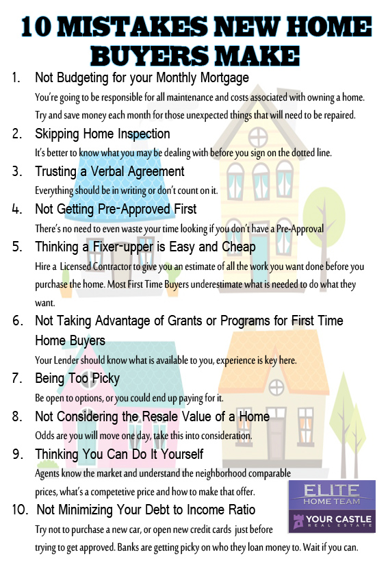 10 mistakes of first time home buyers