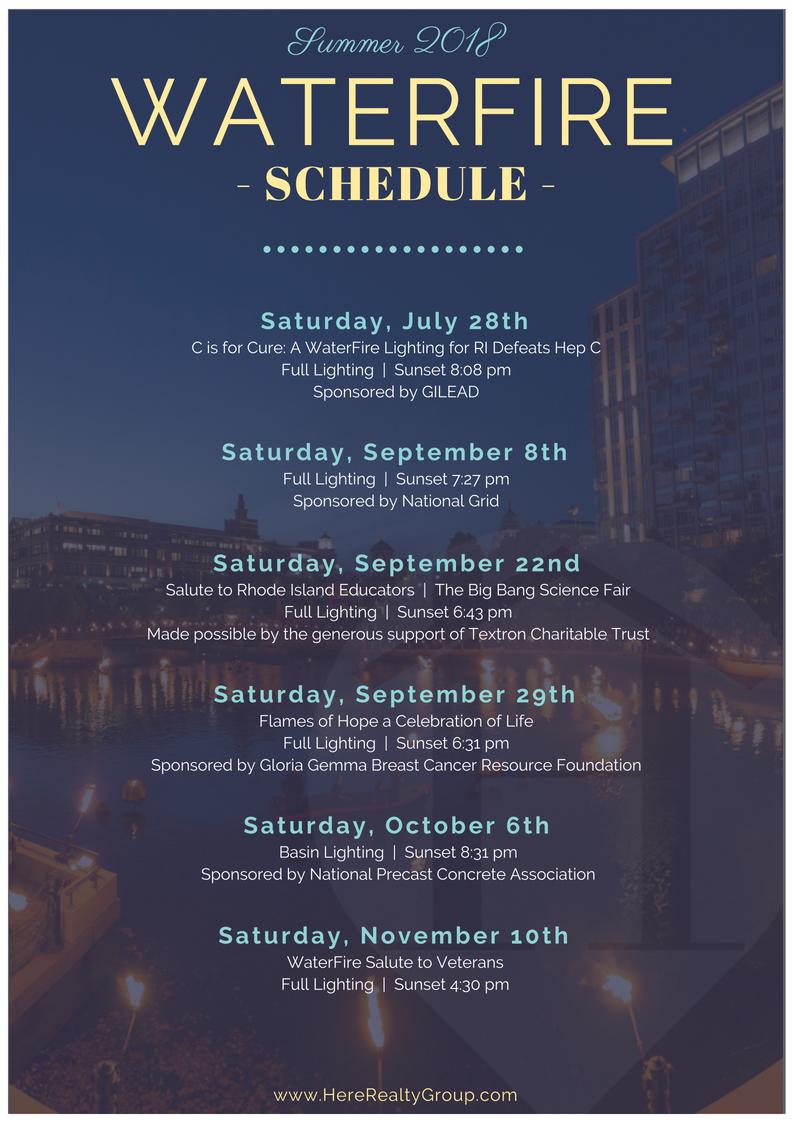 Providence Waterfire Schedule 2018