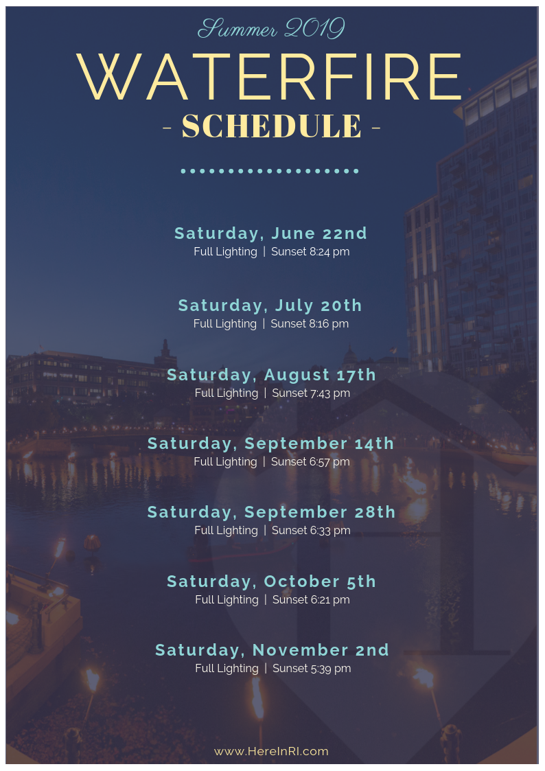 Providence WaterFire Schedule for the Summer of 2019