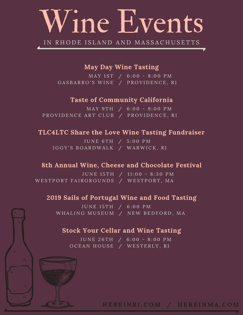 Wine events in Rhode Island and Southern Massachusetts