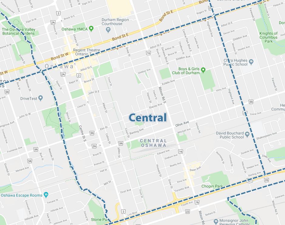 Central, Oshawa Map