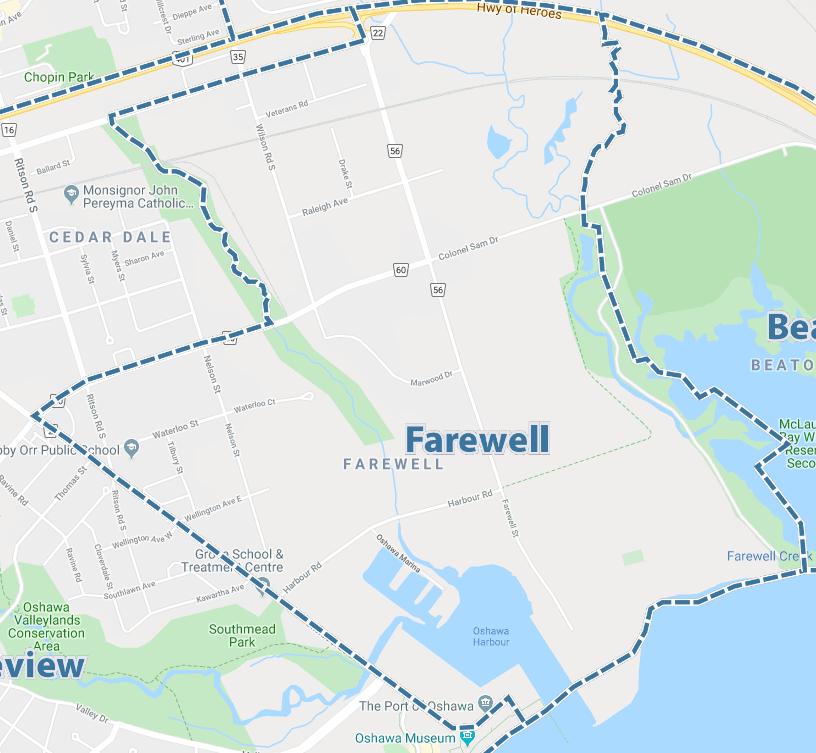 Farewell, Oshawa Map