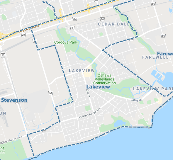 Lakeview, Oshawa Map