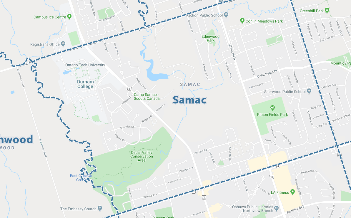 Samac, Oshawa Map