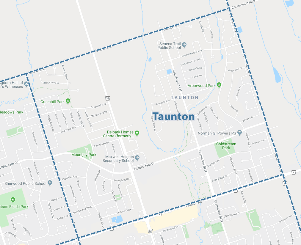 Taunton, Oshawa Map