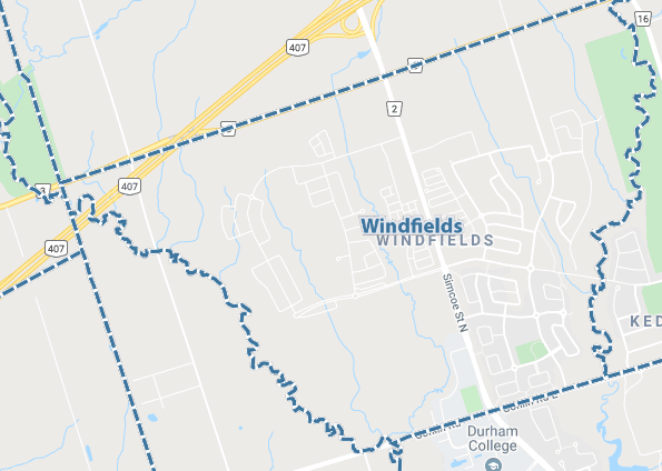 Windfields, Oshawa Map