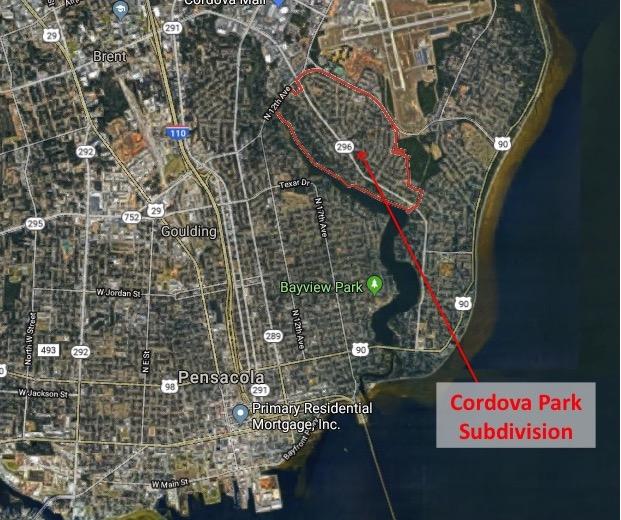 Map Location of Cordova Park Subdivision