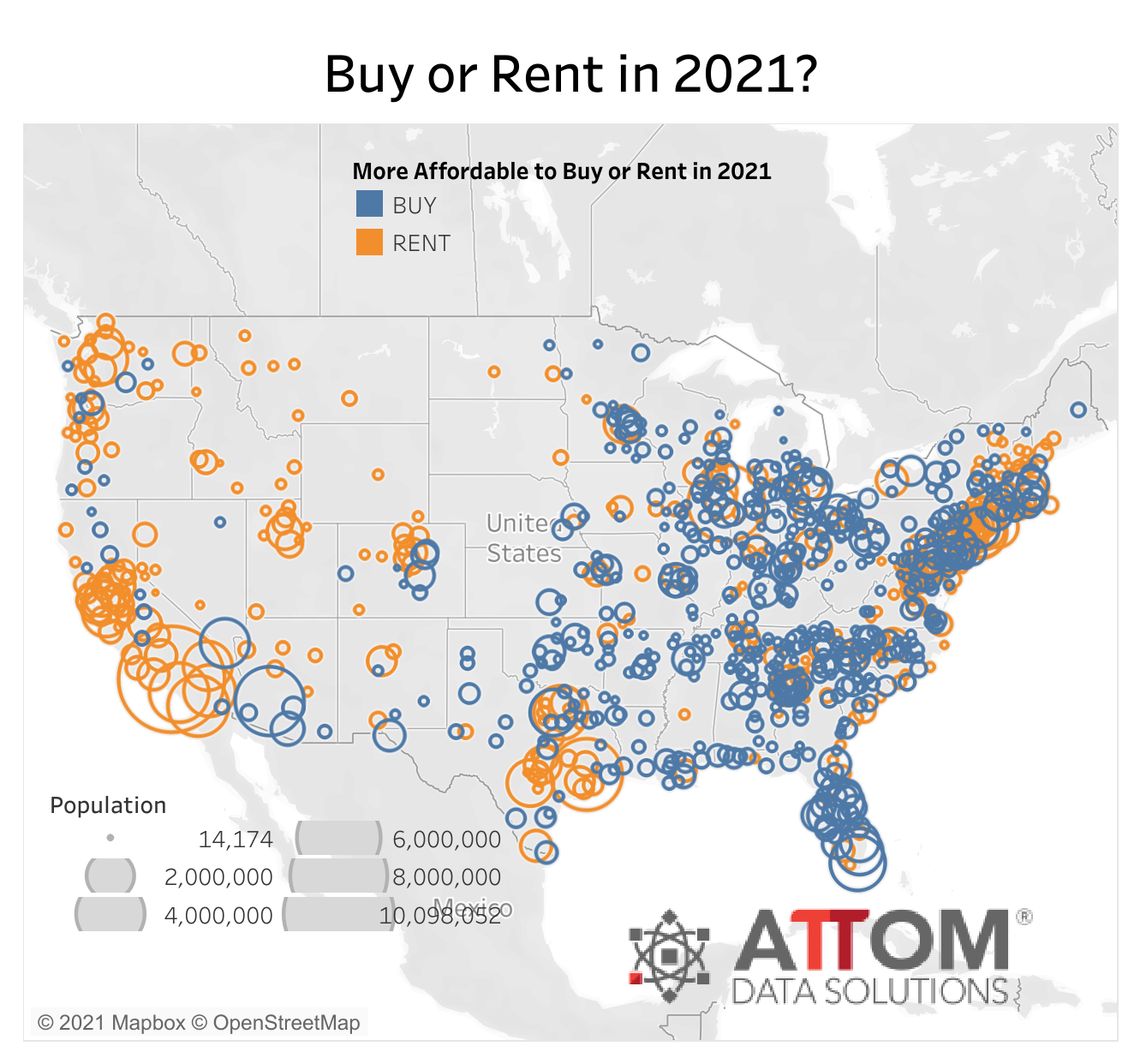 Buy or Rent in 2021 Graphic of US from Attom Data Solutions