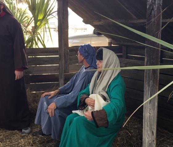 Mary & Joseph with Baby Jesus at Rob Brooks Realty Live Nativity