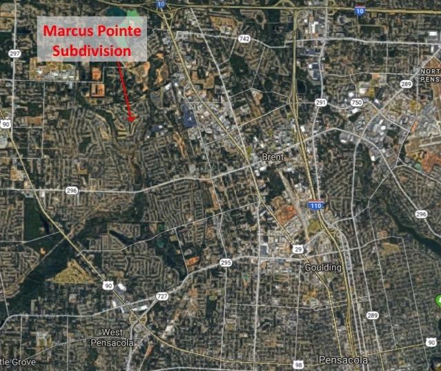 Map Location of Marcus Pointe Subdivision