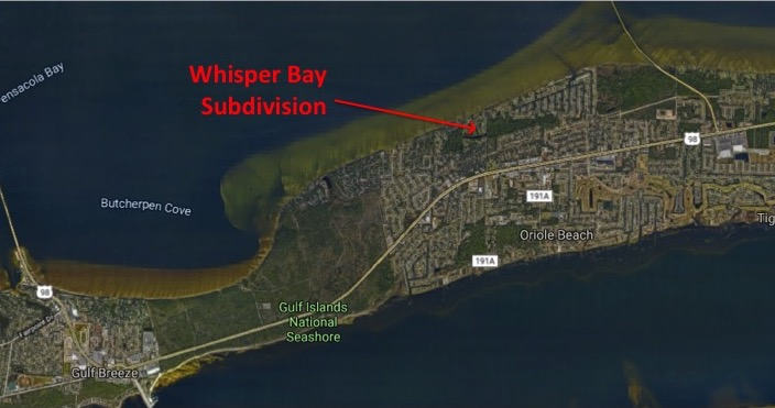 Map Location of Whisper Bay Subdivision