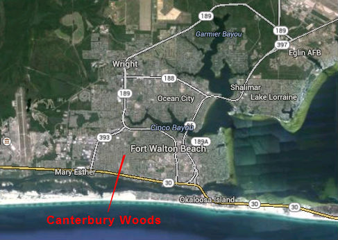 Map Location of Canterbry Woods Subdivision