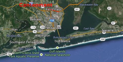 Map Location of Cantonment Florida