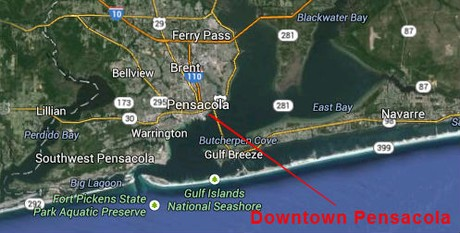 Map Location of Downtown Pensacola, Florida