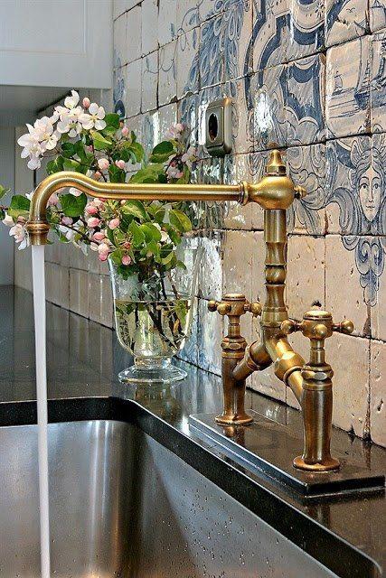 long gold faucet