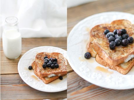 french toast topped with blueberries