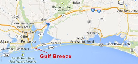 Map Location of Gulf Breeze Florida