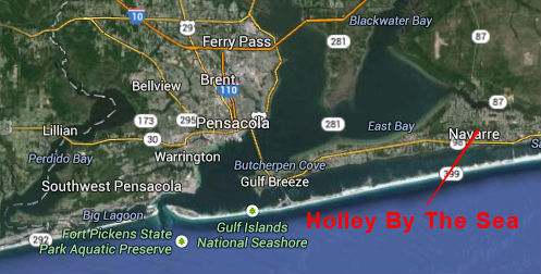 Map Location of Holley By The Sea Subdivision