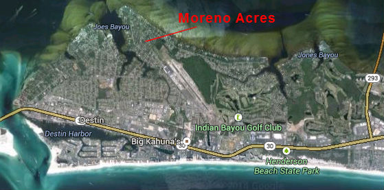Map Location of Moreno Acres Subdivision