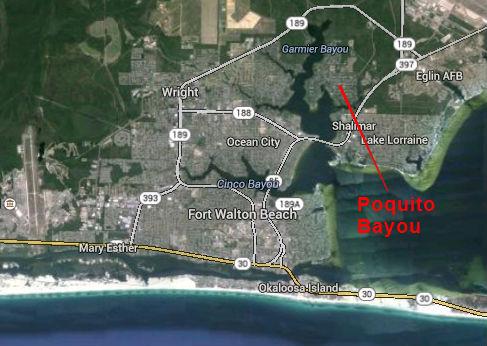 Map Location of Poquito Bayou Subdivision