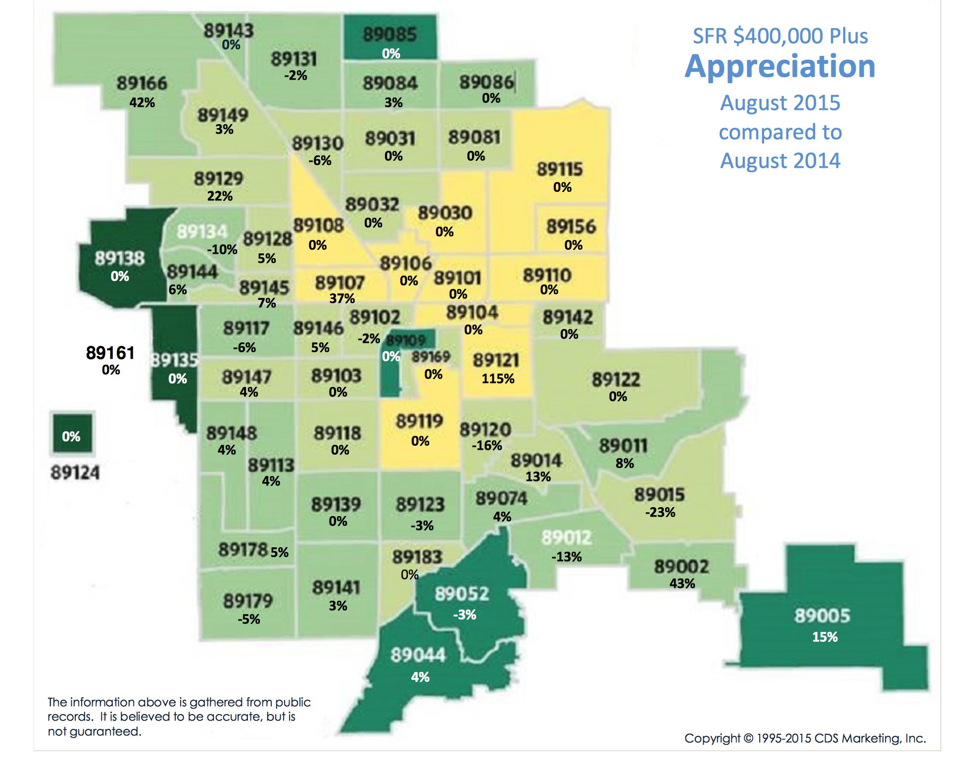 Las Vegas Henderson Price Appreciation Map