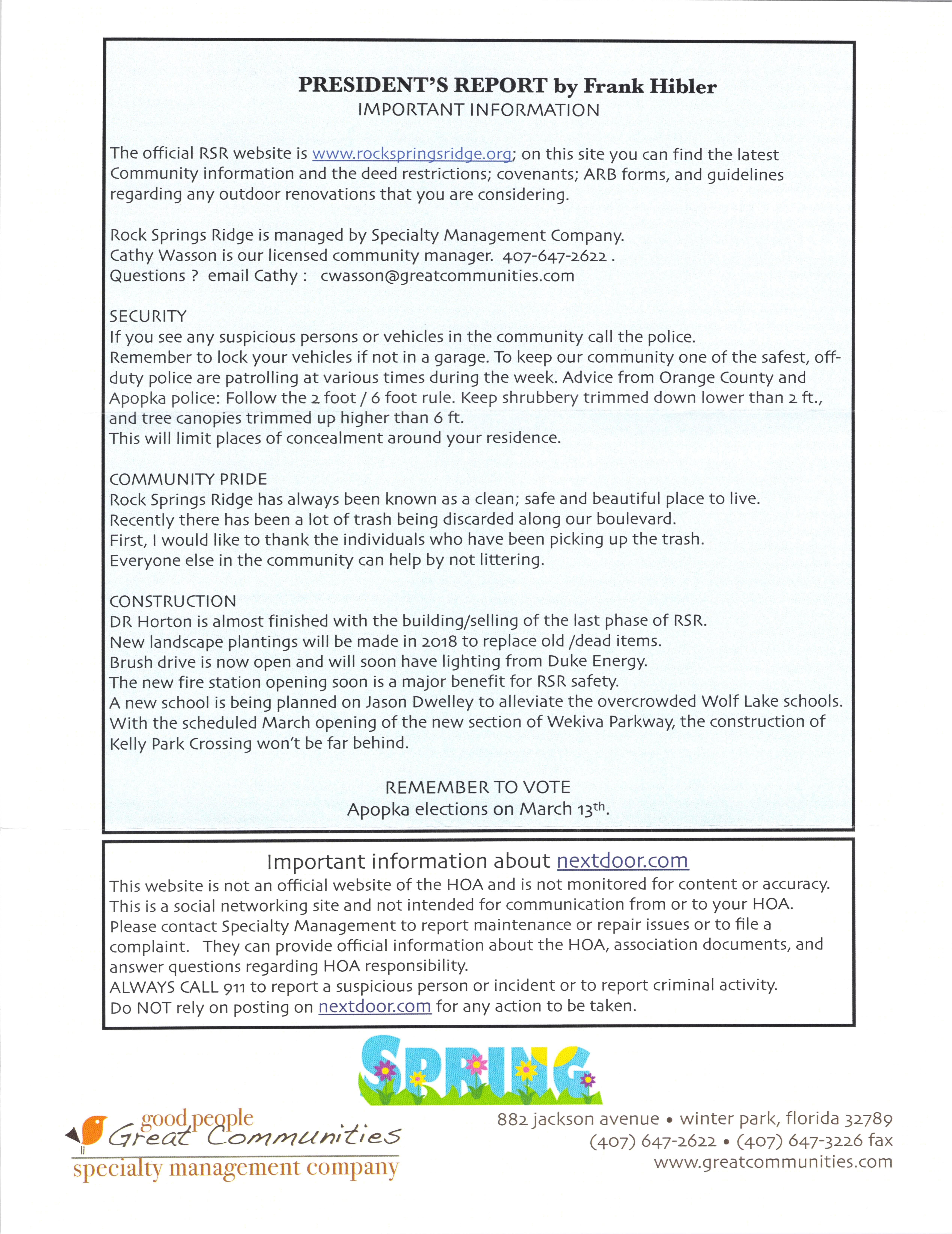 Rock Springs Ridge Apopka FL | Spring President's report