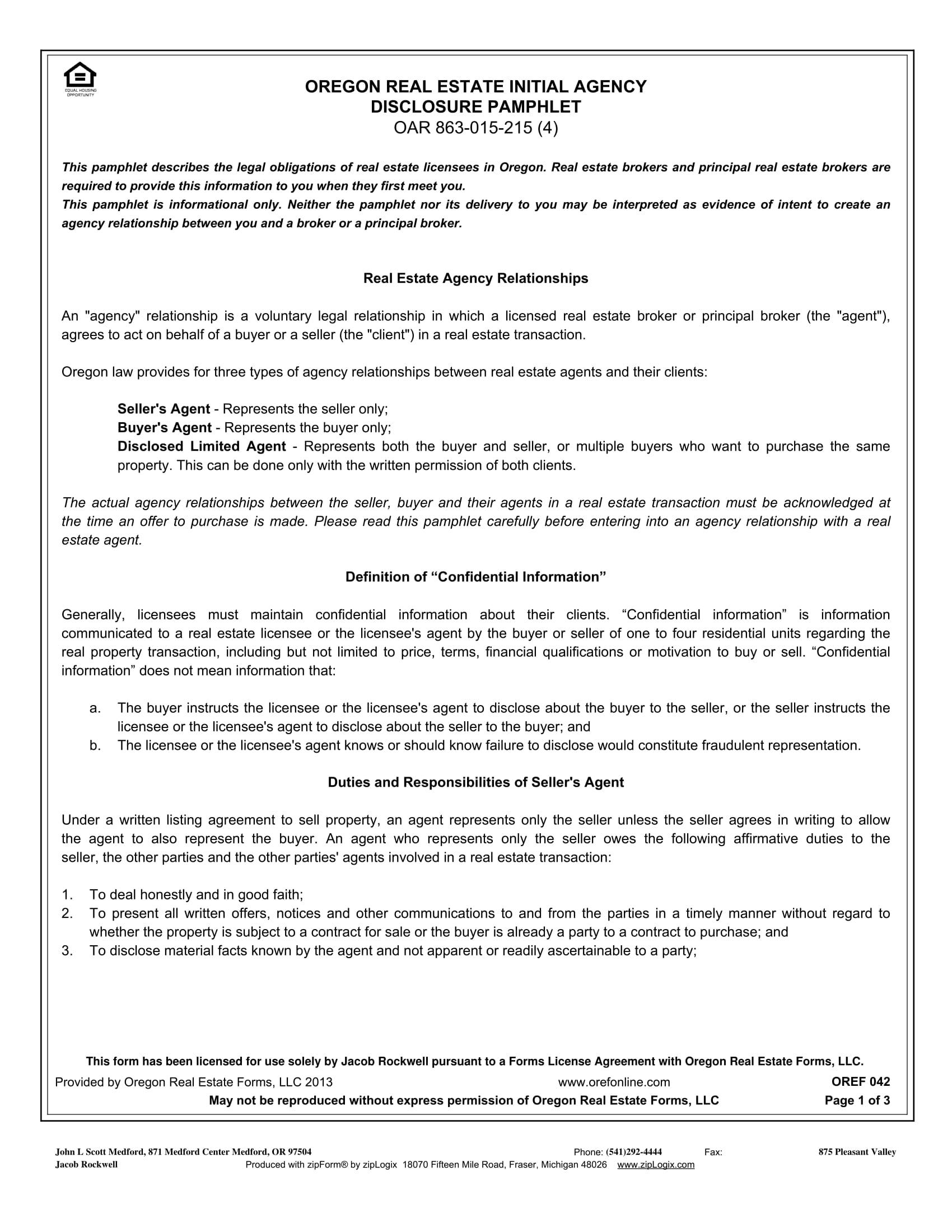 Oregon Real Estate Agency Disclosure Pamphlet