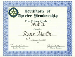 Roger Martin, Charter Member, Rotary Club of West U