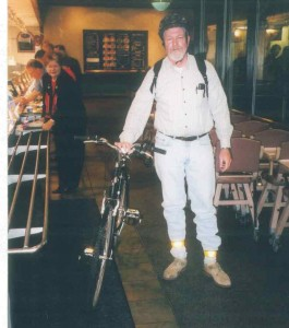 Roger Martin issues a bicycling challenge to the West U Rotary Club