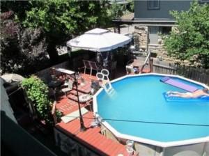 Seller floating in her pool