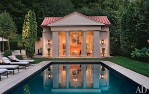 Serene reflection of home in pool
