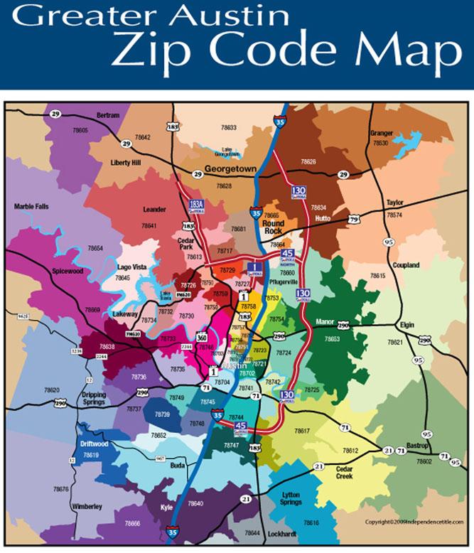 austin area zip code map zip code map