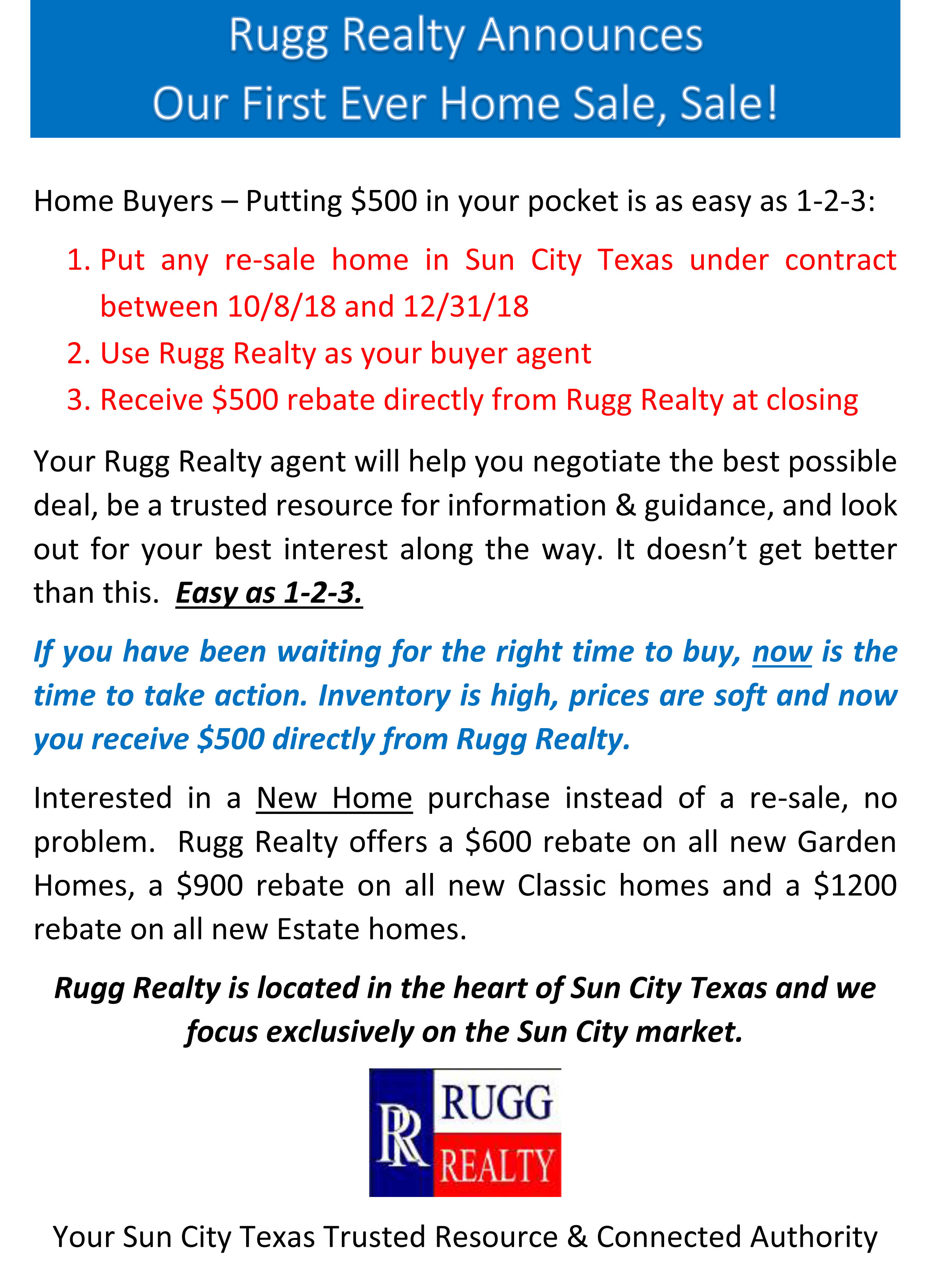 Rugg Realty Home Sale rebate