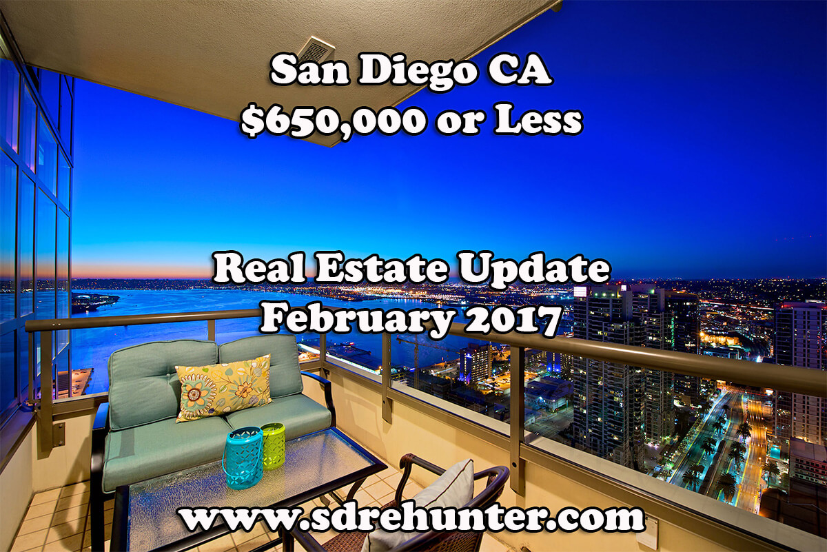 San Diego CA $650,000 or Less Real Estate Update - February 2017