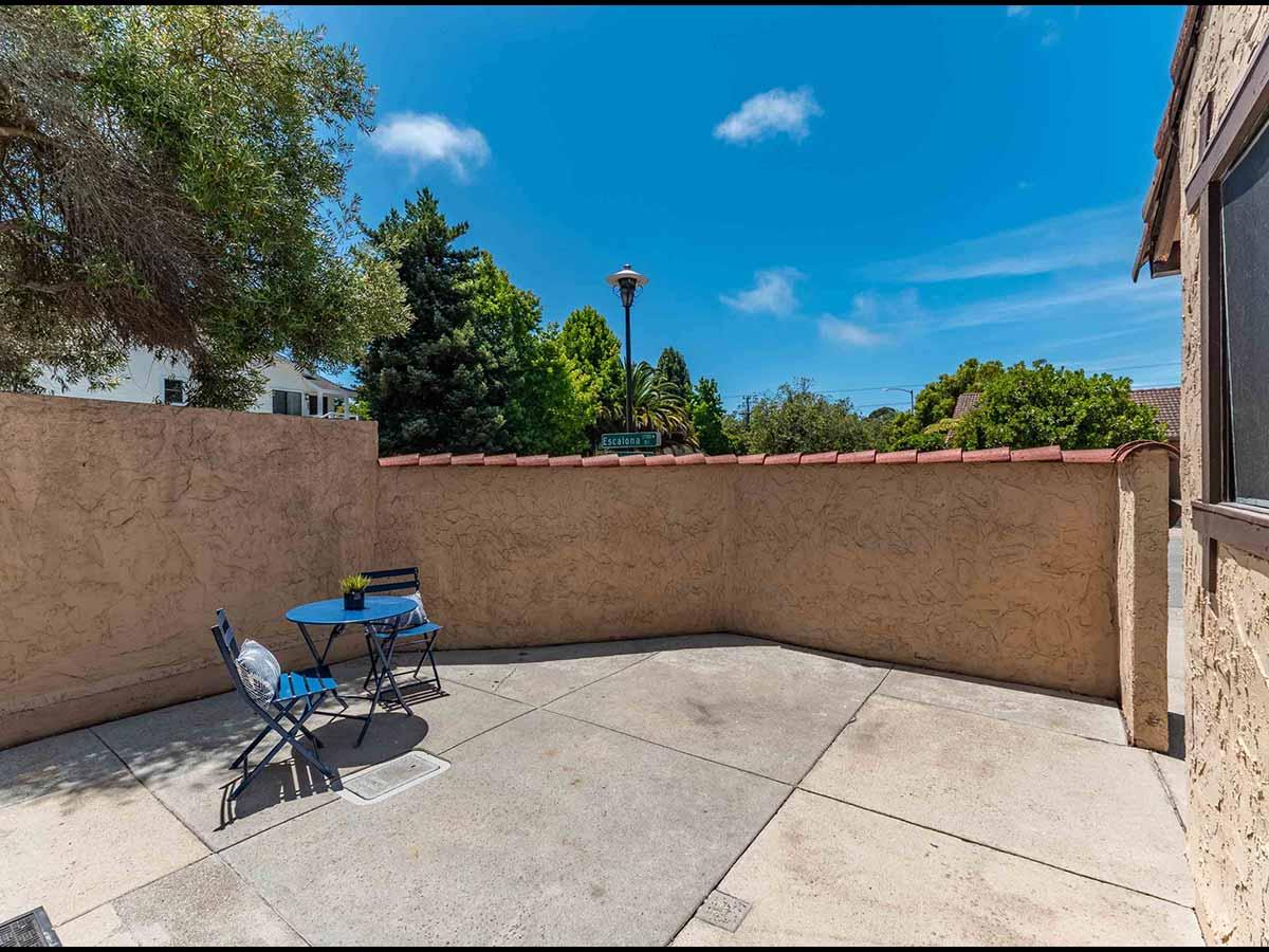 private sunny patio